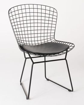 Contemporary Modern Design Black Metal Wire Garden Chairs 2x pcs Dining Chair