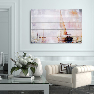 Sail boat picture design home decoration wall art painting on wood