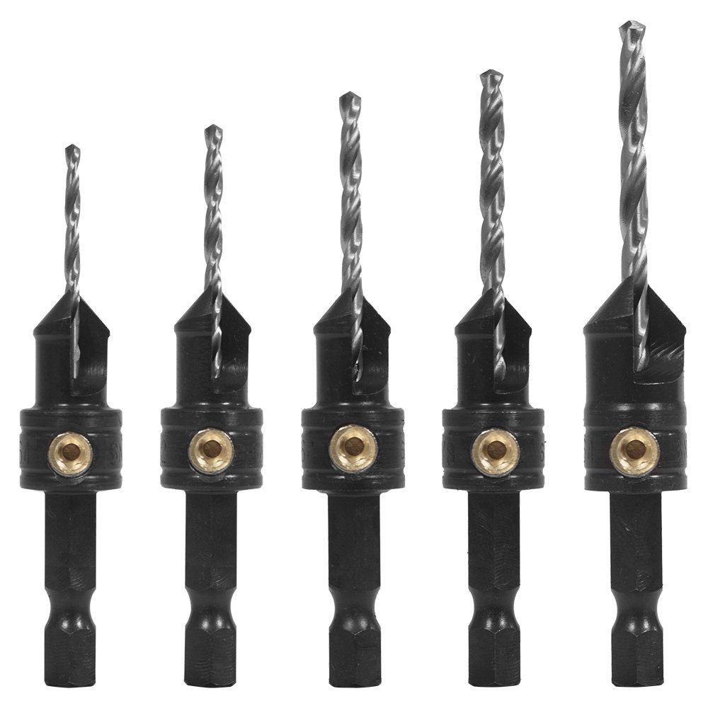 Snappy Brand Quick-Change 5-Pc. Countersink Drill Bit Set. Proudly Made in the USA.