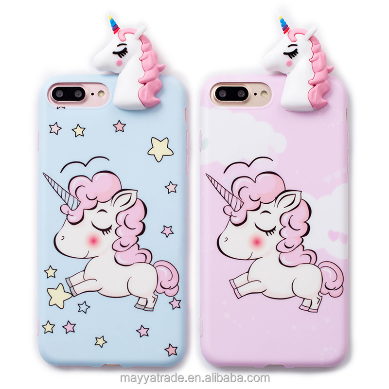 3D Cute Animal Unicorn Silicone Rubber Flexible Colorful Case Cover for iPhone 8 8Plus