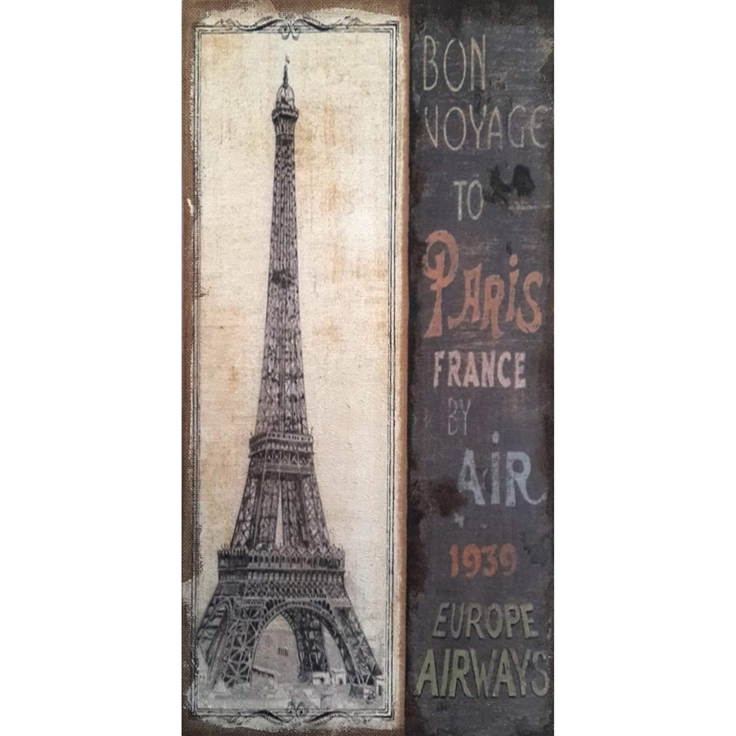 Eiffel Tower Antique Bon Voyage Hand Painted Wall Plaque.