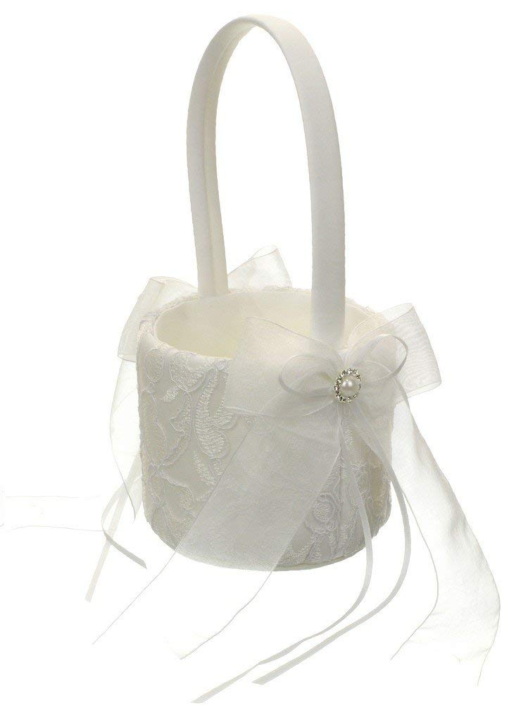 Wedding Flower Girl Basket Embroidery Chiffon Ribbon Crystal Framed Faux Pearl - White
