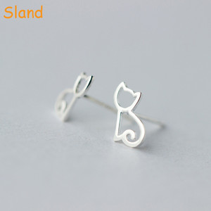 New Designs Ear Accessories Cute Shinny 925 Sterling Silver cat Stud Earrings for Women Children