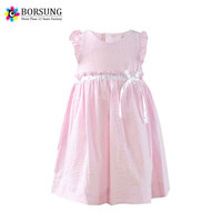 Children Frocks Designs Kid Clothes Pink Seersucks Fashion Girls Cotton Party Prom Summer Dresses