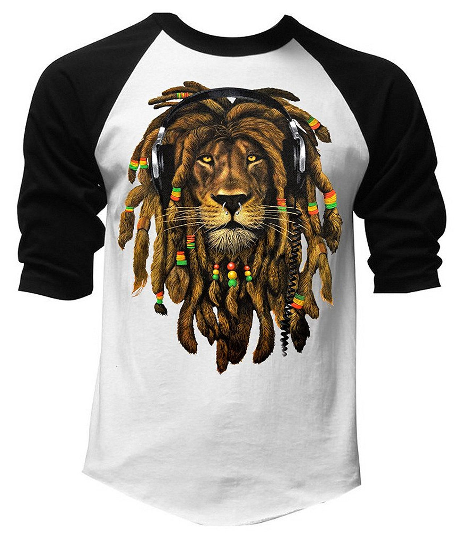 b059262b0e7 Get Quotations · Men s Dreadlock Rasta Lion Headphones Black White Raglan  Baseball T-Shirt Black White