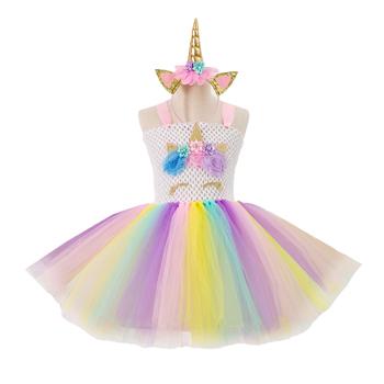 5913f335d9790 Kids Unicorn Costume Tutu Dress + Unicorn Horn Headband Set Unicorn Party  Outfits Dresses