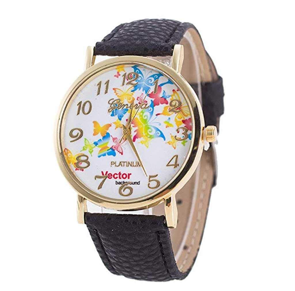 Clearance Sale! Womens Watches,ICHQ Women Butterfly Watches Clearance Ladies Watches Female Watches on Sale Leather Cheap Watches (Black)