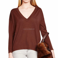 15PKCAS49 knitted lady v neck 85/15 silk cashmere sweater