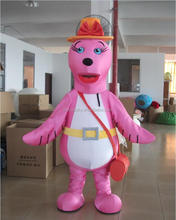 high quality cartoon pink sea lion mascot costume for adult