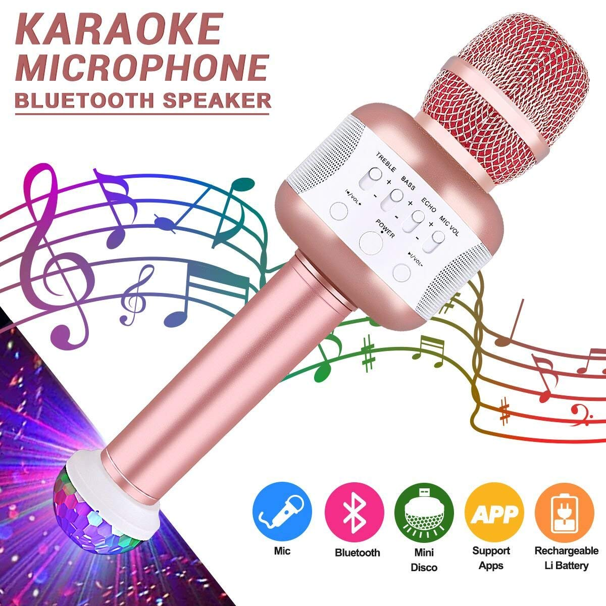 Karaoke Microphone, Portable Handheld Wireless Karaoke with Bluetooth Speaker Recording Machine Compatible for iphone ipad Android Smartphone or PC, USB Karaoke for Kids Adults (rose gold)