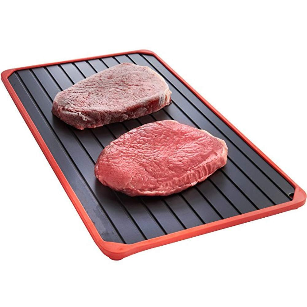 AYIN Metal Fast Defrosting or Thawing Tray With Silicone Border | Thaws Frozen Food Quick | Defrost-Melting Tray | Rapid Defrost Pad for Meat or Frozen Food