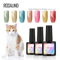 Rosalind custom logo nail art supplies jade color cat eye lacquer semi permanent uv cat eye gel nail polish for wholesale