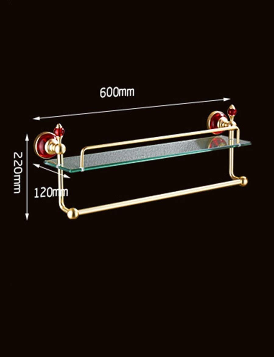 EQEQ Home Bath Rooms Place in The Chain of The Aluminum Gold Crystal On A Red Hat Each Glass Shelf Bathroom Shower Room Bathroom Rack Shelving Has Quality +++++
