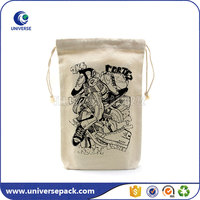 Customized printed good quality canvas bag with drawstring for shoes