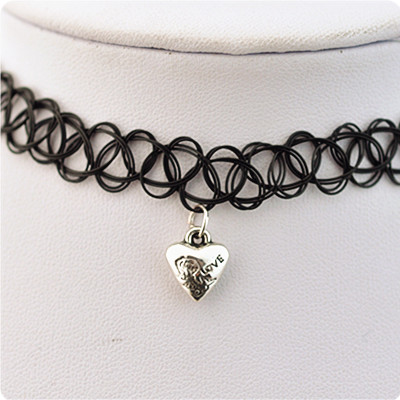 Lasted Jewelry Fashion blackr Lace Long Leather Chain with silver plated heart charms collar Necklace