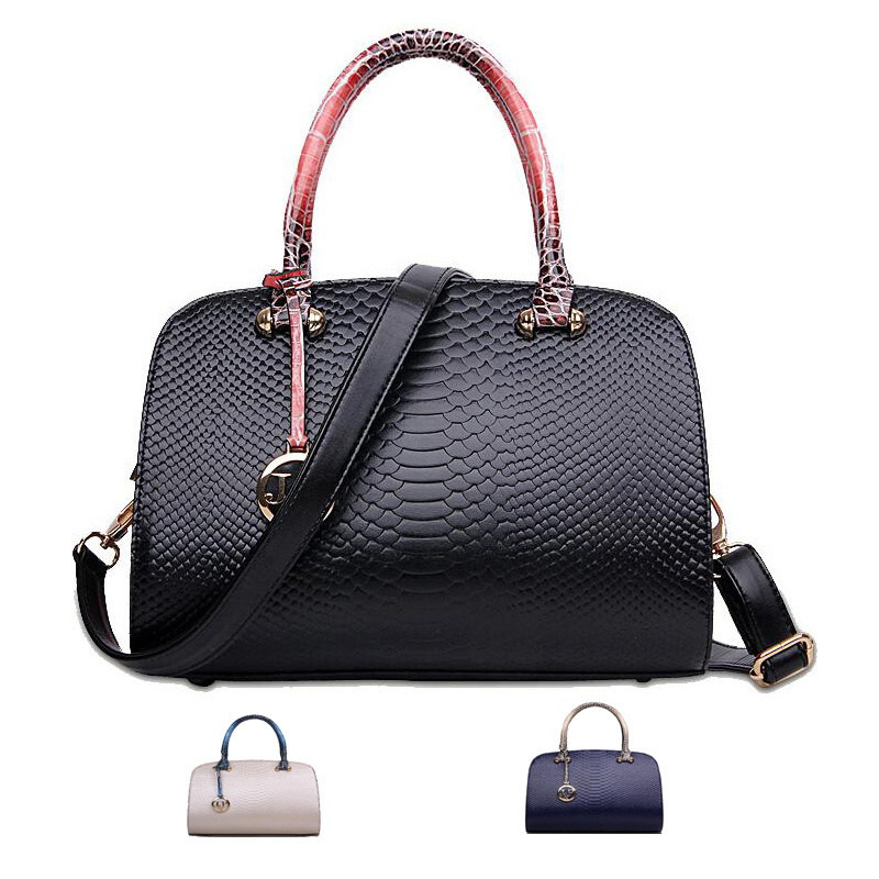 2017 Women Top Handle Bags Croco Embossed Leather Shoulder Fashion Las Handbags Boston Bowler