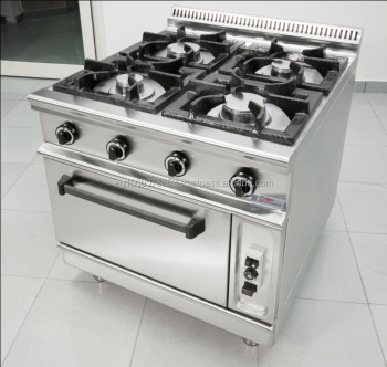 Restaurant Kitchen Gas Stove 4 burners with oven gas range hotel kitchen equipment/industrial