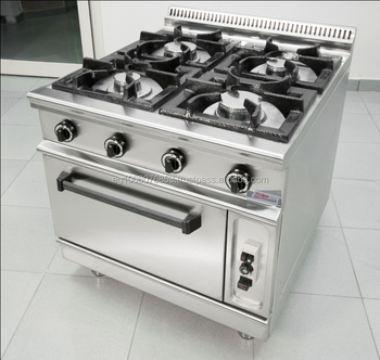 4 Burners With Oven Gas Range Hotel Kitchen Equipment Indian Restaurant