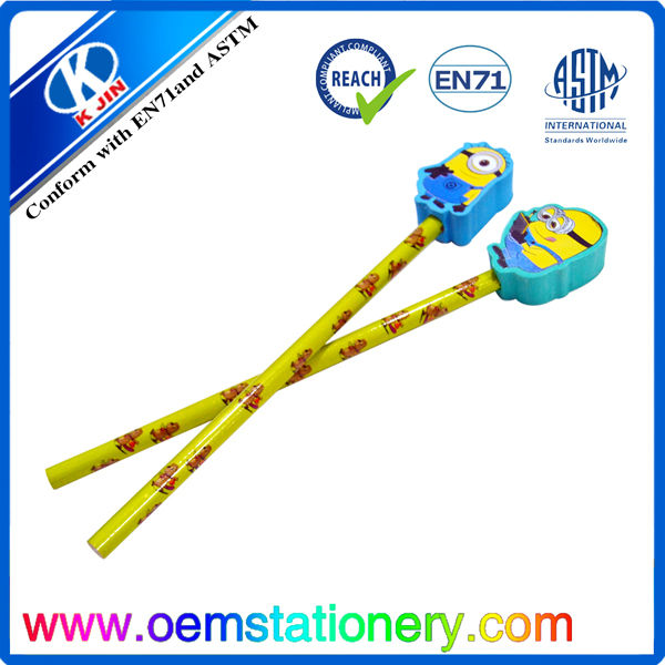 2b pencil with eraser/pencils with eraser toppers/hb pencil with big eraser