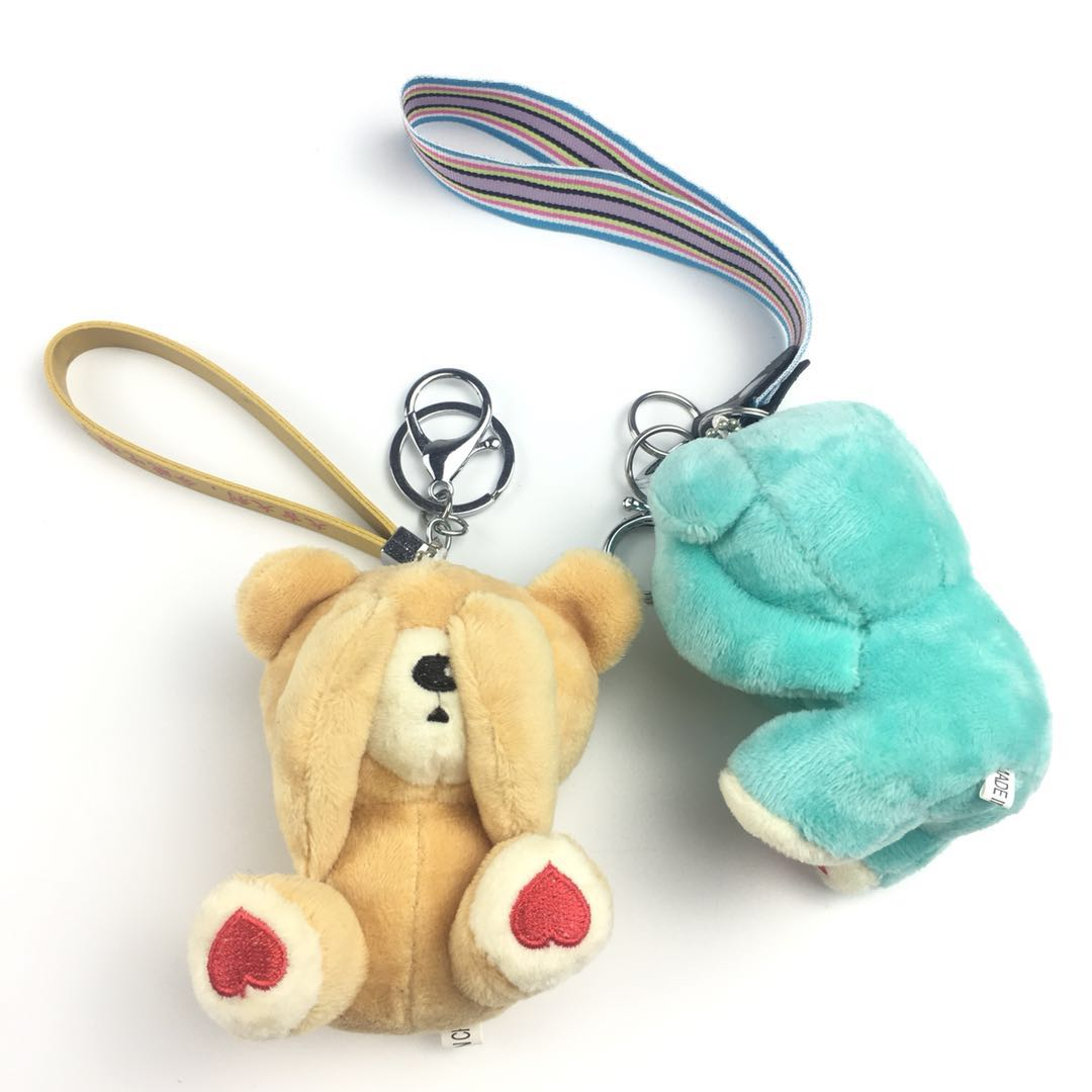 Pink turquoise apricot bear and bruin key chain keychains pompom keychain