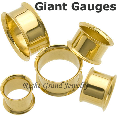 Wholesale Body Jewelry In China PVD Gold Double Flares Ear Tunnels