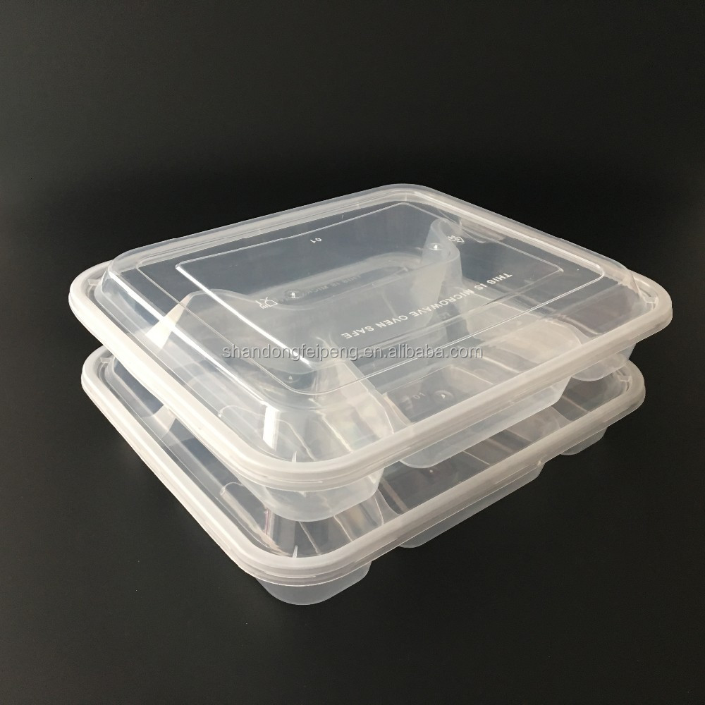 OEM Hot Selling American style 2 compartments disposable plastic bowl with square base for lunch