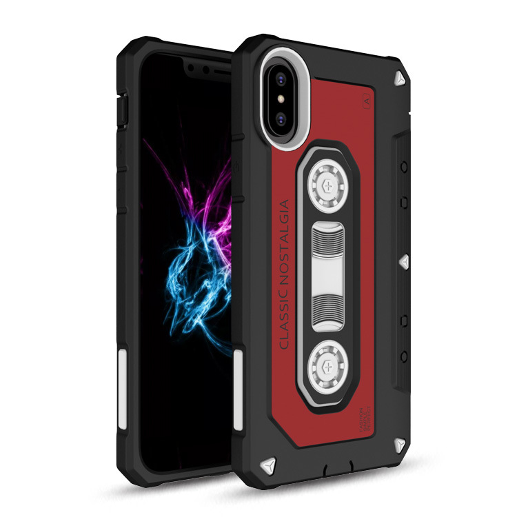 Retro Classical Radio Tape Design 2 in 1 TPU PC Case for iphone X