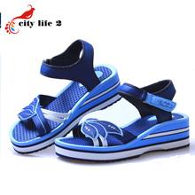 Casual Sandals Women 2015 New Authentic Vietnamese Shoes Velcro Wedges Platform Shoes Summer Zapatos Rome Hollow Rubber Shoes