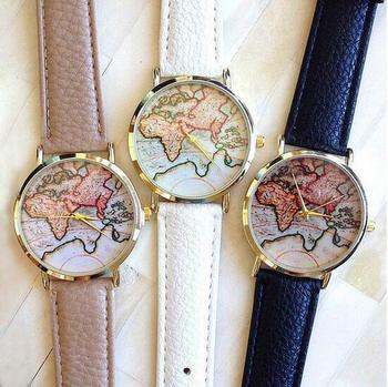 New vintage vogue earth world map watch alloy women men analog new vintage vogue earth world map watch alloy women men analog quartz wrist watches gumiabroncs Image collections