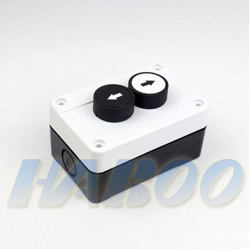 push button switch & box with symbol momentary 2positions 2 holes SPST  arrow symbol switch with protection box white color 600V, View switch box,