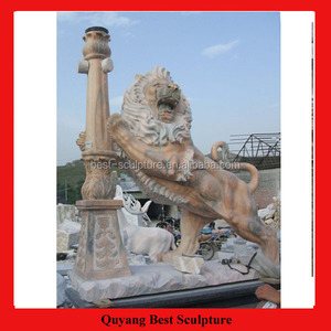 Outdoor Furniture Natural Marble Lion Statue with Light Sculpture for Sale