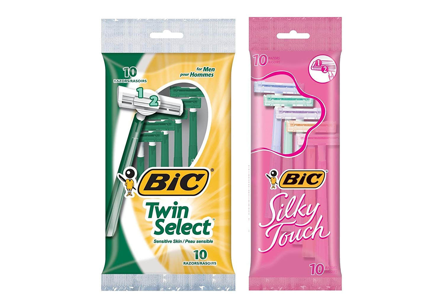 BIC Twin Select Sensitive Skin Disposable Razors for Men, 10CT (STOP101) Bundle with Silky Touch Disposable Razors for Women, 10CT (STWP101)