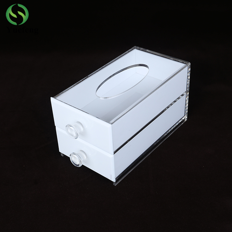 Custom Printed Double-deck Rectangle Acrylic Tissue Box Hotel Facial Tissue Box Factory Wholesale
