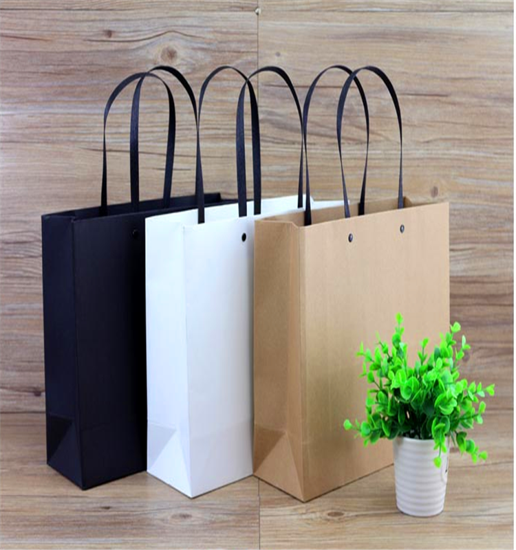 Kraft paper shopping bags with handles paper bag machine with brown logo print wholesale