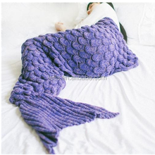 2017 Hot Wholesales Fleece Adult Children Knitted Mermaid Tail Blanket