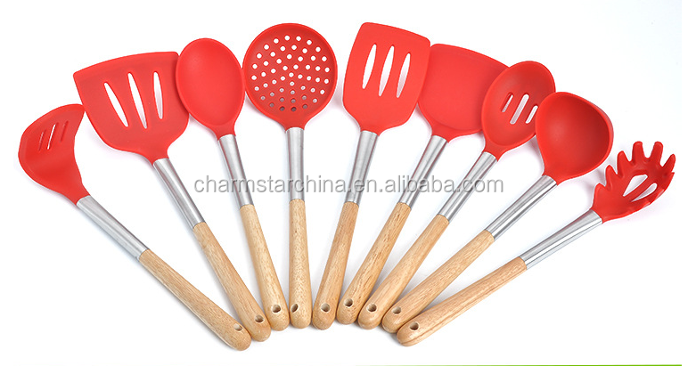 Kitchen Gadget silicone Stainless Steel Kitchen Gadgets Tools Set with wooden handle