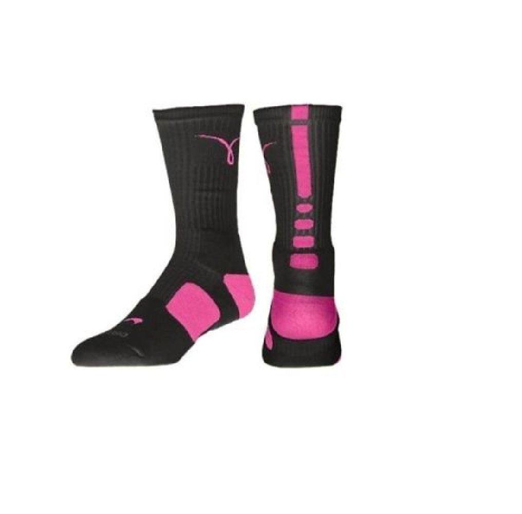 lowest price 16e57 794dd Nike Kay Yow Elite Crew Basketball Socks Black Pink Size Socks Medium 6-8