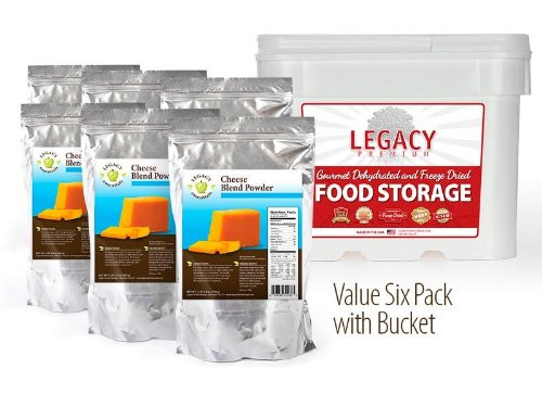 Legacy Essentials Long Term Dried Cheese Powder - 15 Year Shelf Life Powdered Cheese Blend for Emergency Food Storage Supply (Quantity 6 in Bucket)