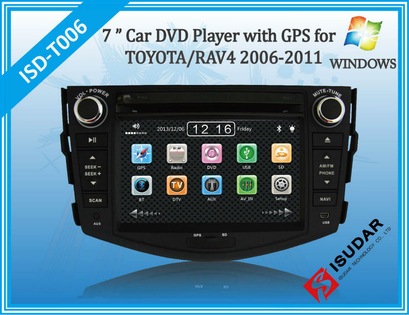 HD 7 Inch Car DVD For TOYOTA RAV4 2006-2011 With PIP+GPS+Bluetooth+TV+Free