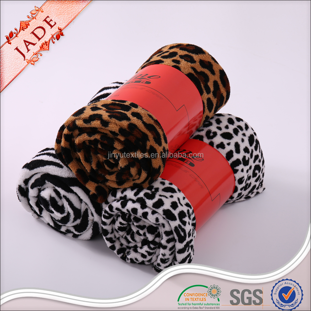 stock animal skin printed coral fleece blanket