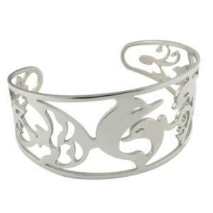 plain stainless steel CNC cut dolphin bangle bracelet animal bangle