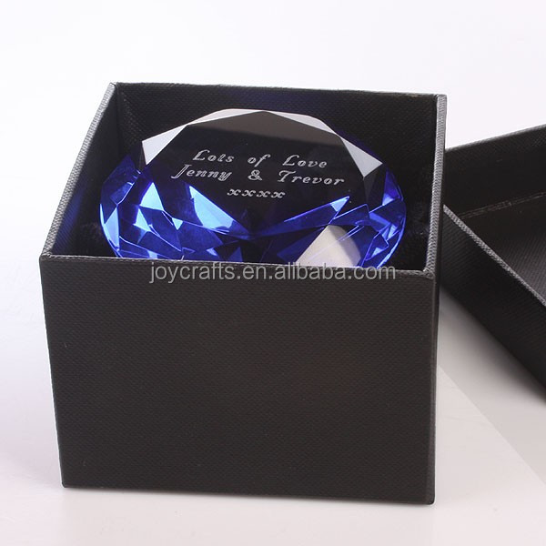 Black Gift Box Blue Diamond Shaped Crystal Paperweight