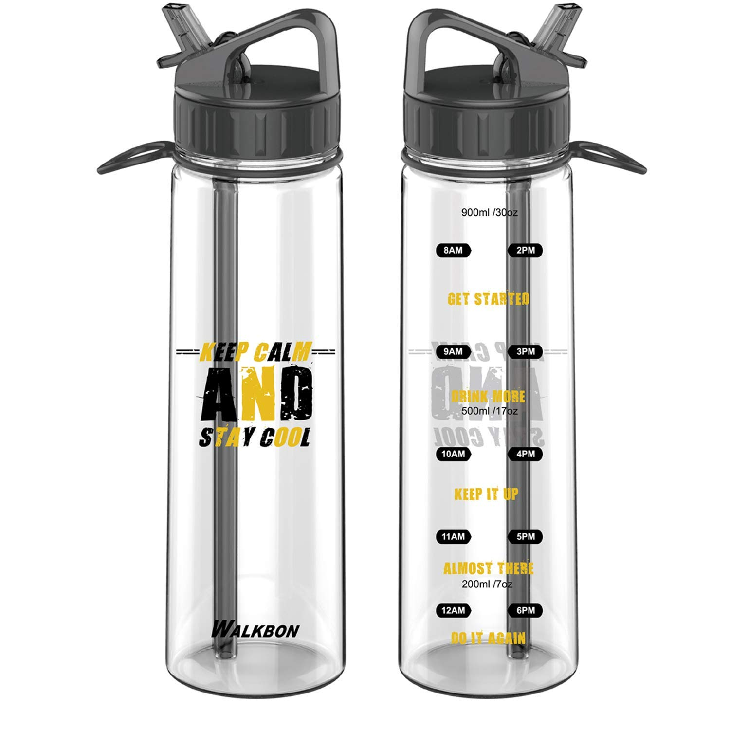 5baaa3cc15 30OZ Motivational Fitness Workout Sports Water Bottle Straw with Time  Marker Measurements BPA-Free Tritan