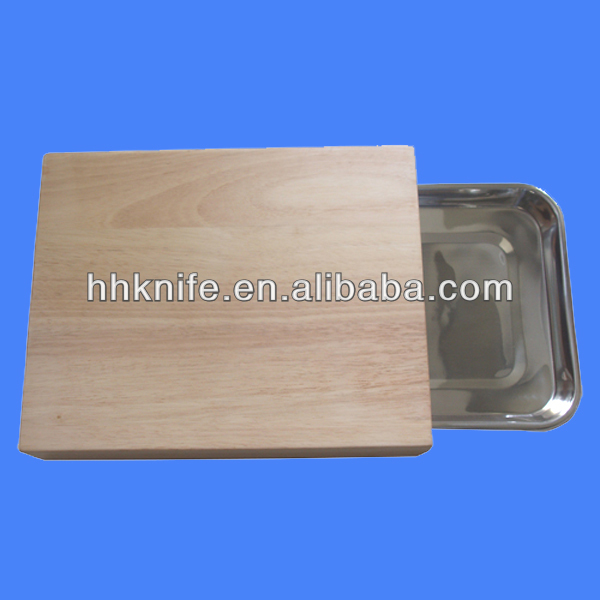 Wooden Cutting Board with tray