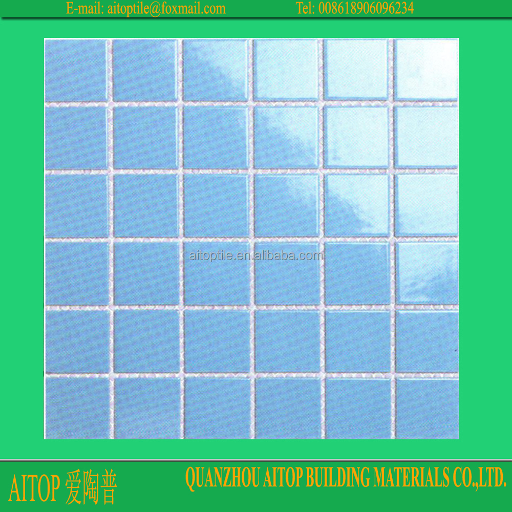 Discontinued ceramic swimming pool floor tile blue 306x306mm