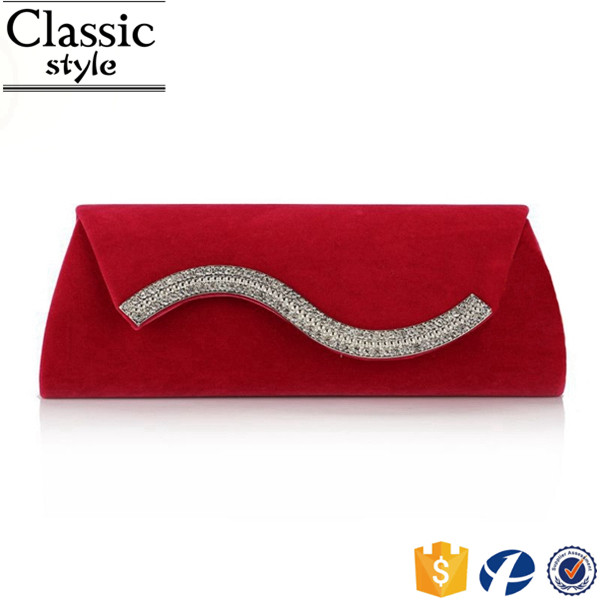 CR Enough stocked soft surface rhinestones inlaid decoration design velvet material latest design luxury clutch bags for women