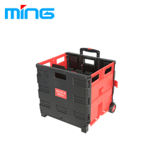 easy use plastic box and folding trolley carts with casters
