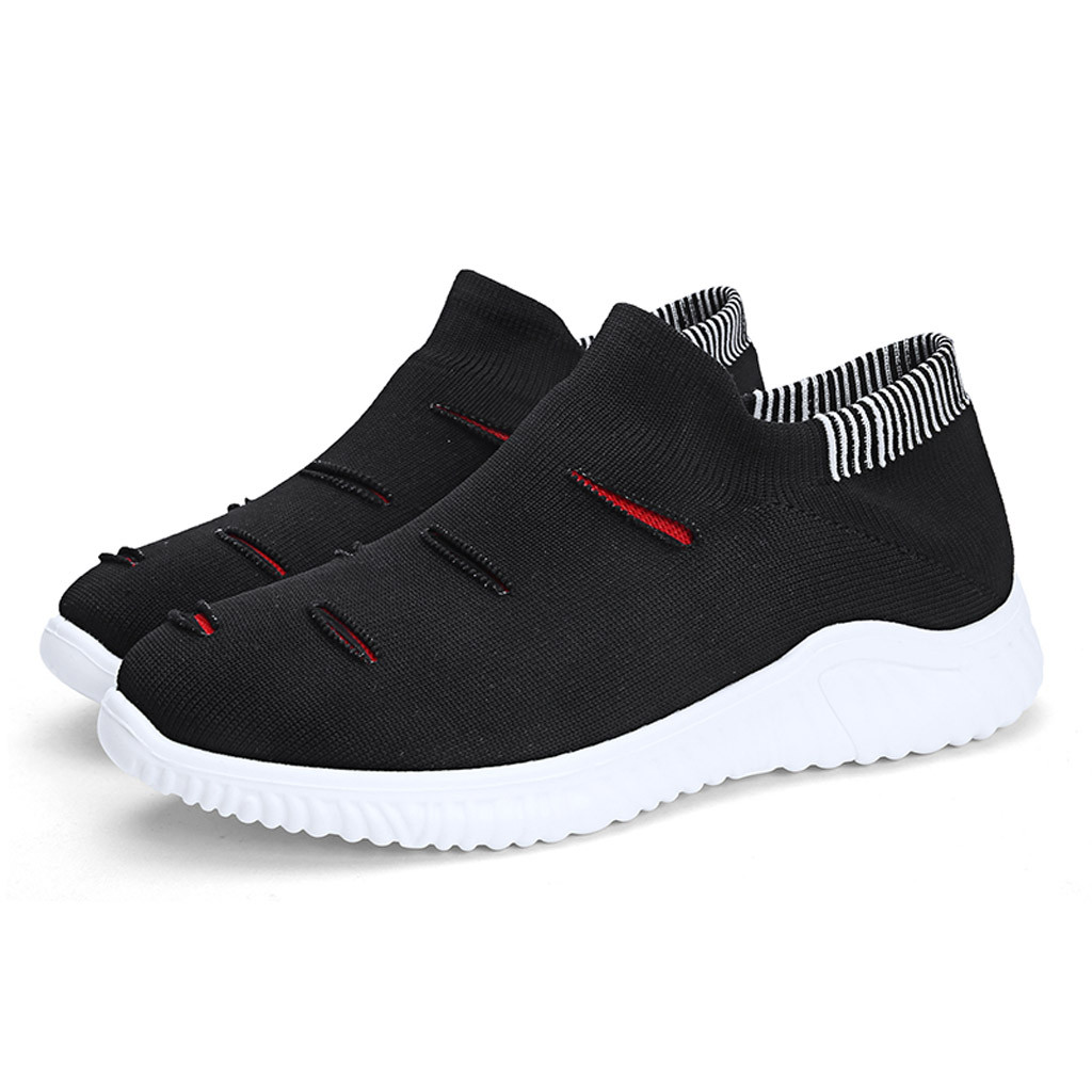 Shoes Men's Casual Shoes Muqgew Hollow Out Solid Big Size Flats Sneakers Shoes New Arrival Casual Sets Of Feet Lightweight Outdoor Non-slip Sneaker Shoes
