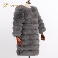 Latest design jtfur wholesale long stripes zipper fashion detachable women real fur coat of fox fur