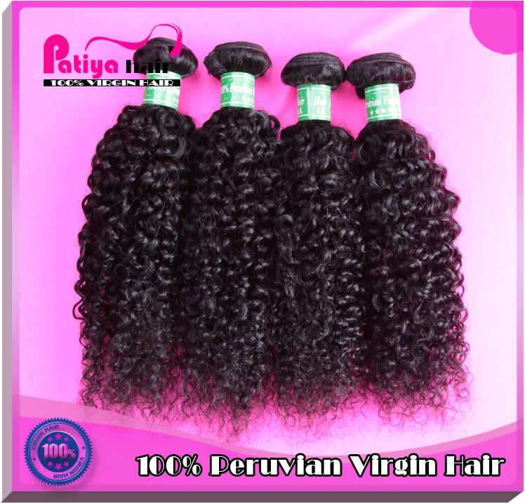 Cheap price afro jerry curl hair weave extensions human hair natural black curly Peruvian virgin hair for women